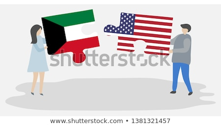 Stock photo: USA and Kuwait Flags in puzzle