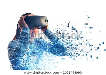 Mujer tecnología aislado blanco mano cara Foto stock © Elnur
