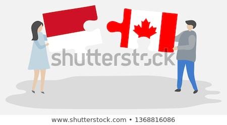 Indonézia Kanada zászlók puzzle vektor kép Stock fotó © Istanbul2009
