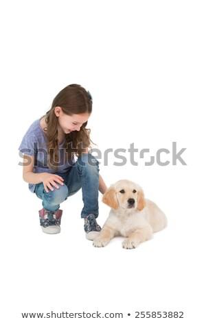 Guggol kislány következő kutya fehér boldog Stock fotó © wavebreak_media