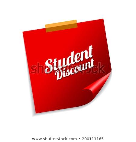 Student korting Rood sticky notes vector icon Stockfoto © rizwanali3d