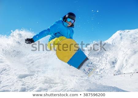 child jumping with snowboard Stock photo © adrenalina