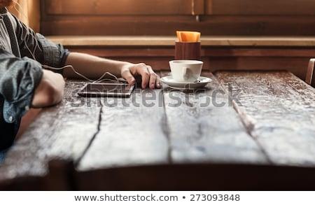 音楽 コーヒー 無線lan 幸せ 若い女性 ヴィンテージ ストックフォト © Fisher