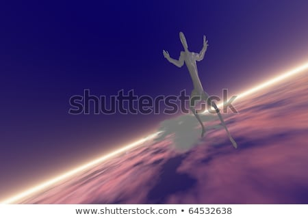 3d man on flying surf board concept stock photo © nithin_abraham