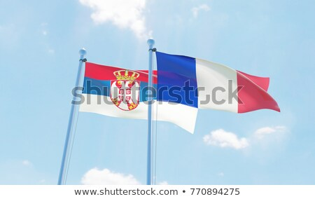 Francja Serbia flagi puzzle odizolowany biały Zdjęcia stock © Istanbul2009