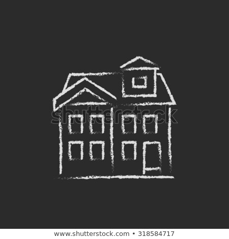 two storey detached house icon drawn in chalk stock photo © rastudio