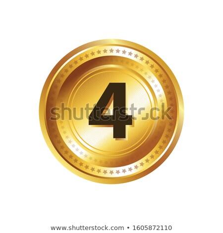 4 number circular vector gold web icon button stock photo © rizwanali3d