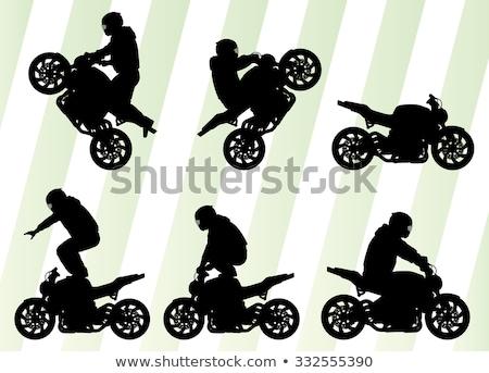 Férfiak előad szenzáció motorbicikli üveg sziluett Stock fotó © shawlinmohd