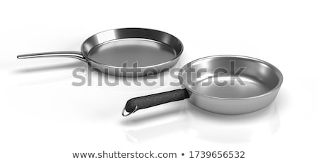 Fish fry in a frying pan. Isolated on white Stock photo © frescomovie