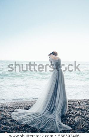 zwart · haar · vrouw · lang · grijs · jurk · geïsoleerd - stockfoto © ruslanomega