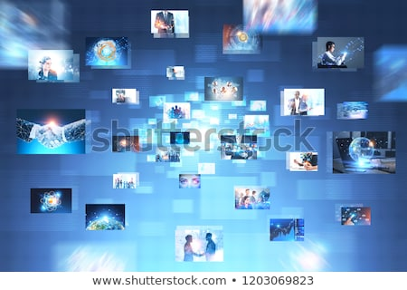 Nagy videofal tv képernyő választék képek Stock fotó © smuki