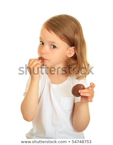 überrascht Mädchen Schokolade Eier ziemlich aussehen Stock foto © ndjohnston