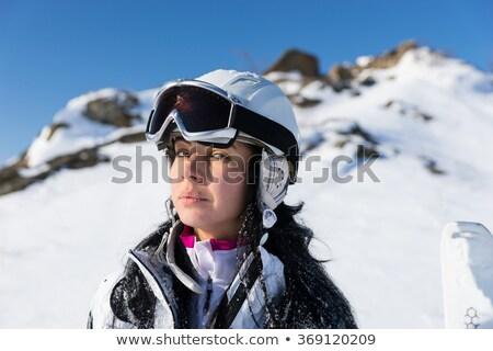 Aranyos síelő elöl barát hó szőke Stock fotó © dash