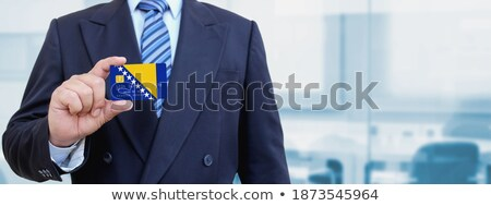 Foto stock: Tarjeta · de · crédito · Bosnia · Herzegovina · bandera · banco · presentaciones · negocios
