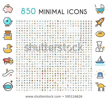 Stock photo: Flat thin line color business and finance icons