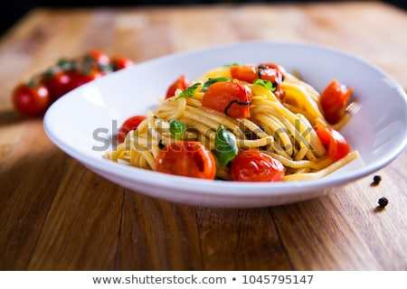 Surowy pomidorów herb żywności makaronu gotowania Zdjęcia stock © M-studio