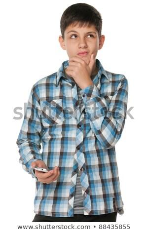 guapo · negro · camisa · móviles · retrato - foto stock © meinzahn