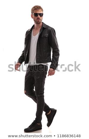 Stock fotó: Divat · férfi · bőrdzseki · napszemüveg · néz · oldal