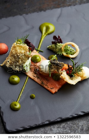 Delicious appetizers with graved salmon Stock photo © Klinker