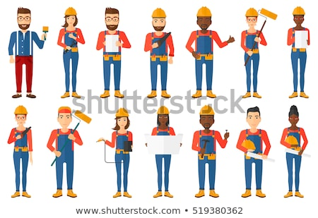 Hipster Repairman Cartoon Character Design Stock photo © doddis
