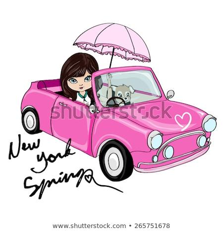cute girl on pink car Stock photo © adrenalina