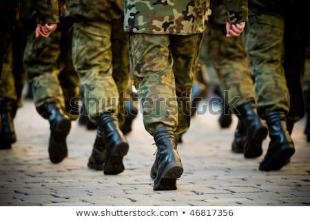 leger · soldaten · militaire · Blauw · uniform - stockfoto © zurijeta