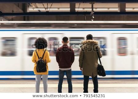 Pessoas espera estação de trem vidro janela homens Foto stock © zurijeta