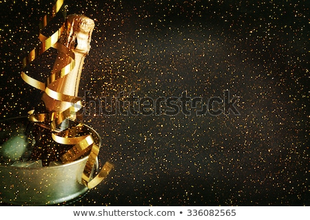 Congratulations to the happy new 2016 year with a bottle of champagne, flags Stock photo © m_pavlov