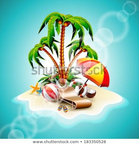 nyári · szabadság · kókusz · kókuszpálma · tengerpart · kék · eps - stock fotó © articular