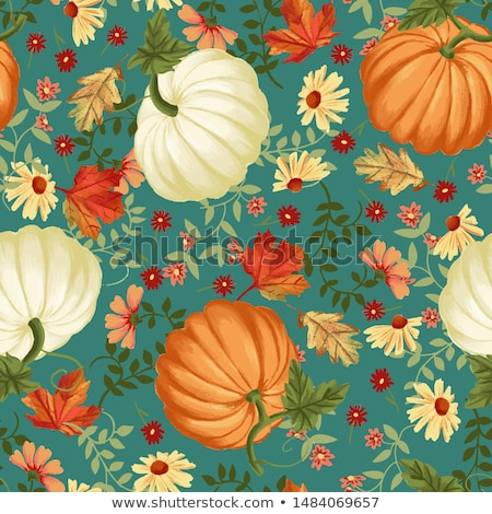 vector colored seamless pattern with decorative pumpkin stock photo © lissantee