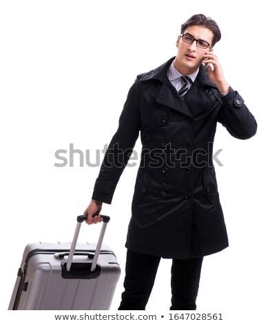 Stock fotó: Jóképű · üzletember · dolgozik · mobiltelefon · izolált · fehér