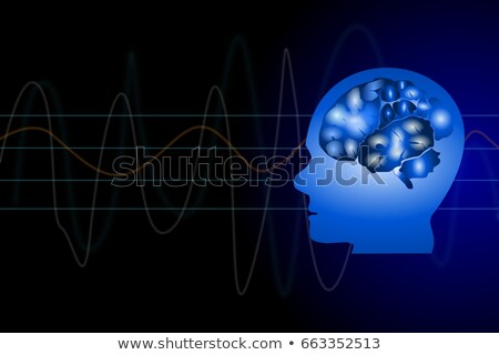 People silhouette blue background, medical technology concept Stock photo © Tefi