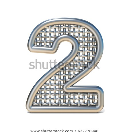 Metal wire mesh font Number 2 TWO 3D Stock photo © djmilic