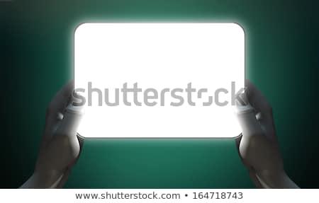 Handen verlicht algemeen tablet paar grijs Stockfoto © albund