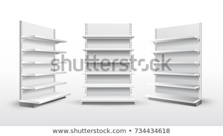 Polcok fehér akasztás fal fény árnyékok Stock fotó © pakete