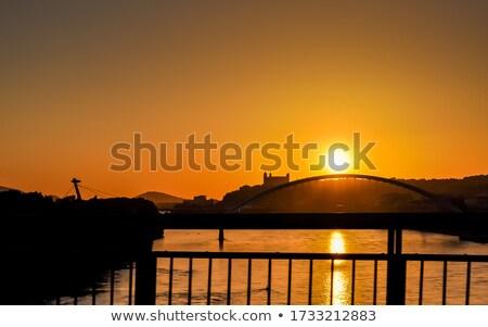 Városkép UFO híd sziluett Stock fotó © gomixer