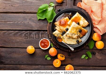 パンケーキ 新鮮な アプリコット ジャム 食品 背景 ストックフォト © yelenayemchuk