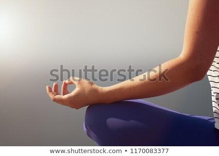 sakin · genç · kadın · oturma · lotus · pozisyon · açık · havada - stok fotoğraf © chesterf