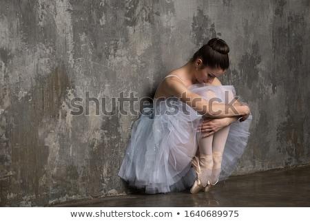 Genç güzel balerin oturma zarif poz Stok fotoğraf © julenochek