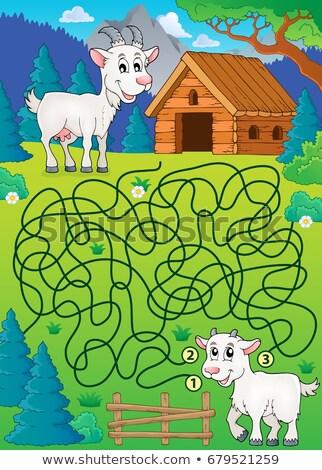 Doolhof geit gelukkig natuur kunst boerderij Stockfoto © clairev