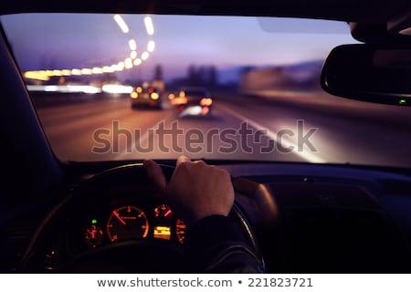 nacht · auto · lichten · rijden · winter - stockfoto © fotoyou