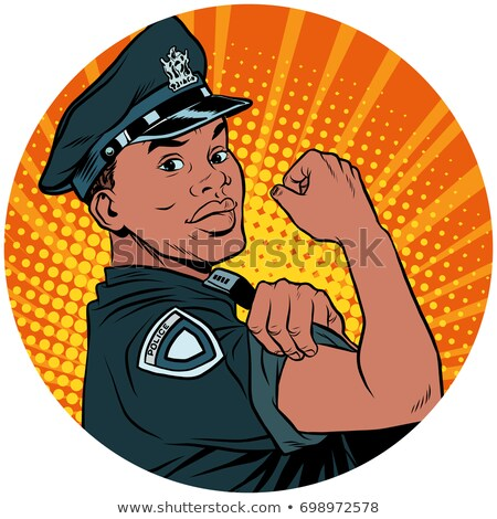 we can do it black policeman african american pop art avatar cha stock photo © studiostoks