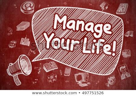 Manage Your Life - Doodle Illustration on Red Chalkboard. Stock photo © tashatuvango
