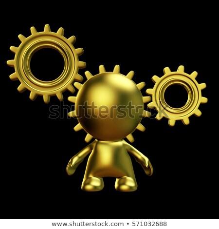 Systems Thinking on Golden Cogwheels. 3D. Stock photo © tashatuvango