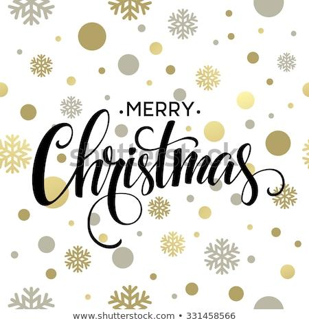 Vidám karácsony kéz illusztráció papír címke Stock fotó © articular