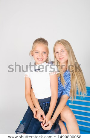 Blonde girl wearing white long dress with retro styled suitcase  Stock photo © Nobilior