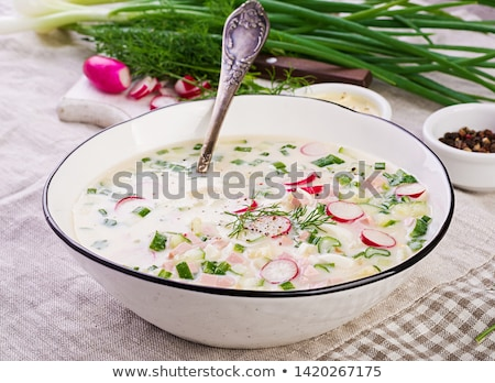 Summer  cold soup with radish, cucumber, and dill Stock photo © Valeriy