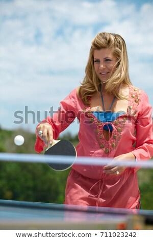 Kadın oynama masa tenisi dışında yaz Stok fotoğraf © IS2