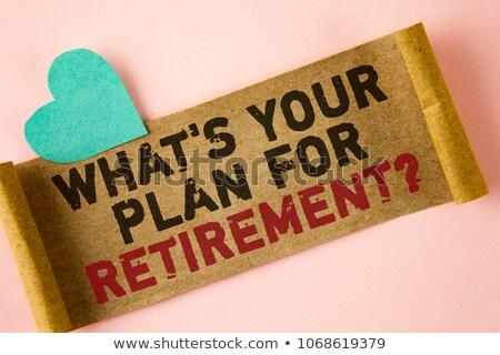Woorden pensioen plan geschreven stuk papier Stockfoto © alexmillos