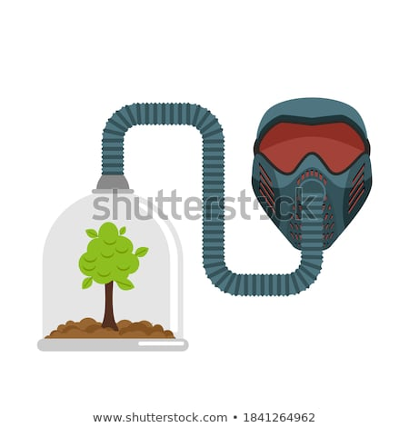 gas mask and plant in glass bell glass jar and sprout breath o stock photo © popaukropa